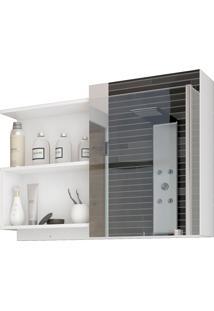 Espelheira Para Banheiro Com 1 Porta E 2 Prateleiras 80Cm Lis-Mgm - Branco