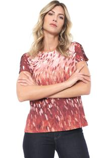 Camiseta Lança Perfume Estampada Vinho/Bege