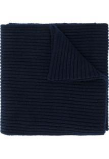 Pringle Of Scotland Cachecol Canelado Com Logo - Azul