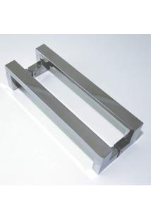 Puxador Para Porta Duplo Em Inox Tokyo 40Cm Geris Prata