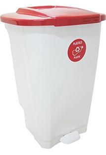 Lixeira Em Plastico T-Force Branco E Vermelho 100 Litros Tramontina 92814/401