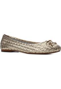 Sapatilha Couro Shoestock Laço Tressê Feminina - Feminino-Ouro