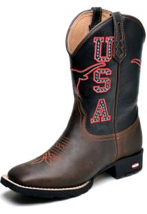 Bota Clube Do Sapato De Franca Country Texana Bordado Usa Café