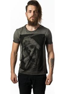 Camiseta Estonada Skull Lab Skull Portrait - Masculino-Grafite