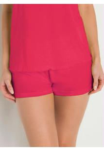 Short De Pijama Pink Com Estampa Localizada