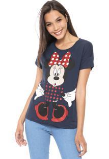 Blusa Cativa Disney Minnie Glitter Azul-Marinho
