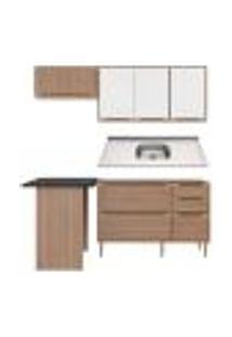 Cozinha Compacta Com Pia Inox E Mesa 5 Peças Calábria Multimóveis Mp3219 Madeirado/Branco