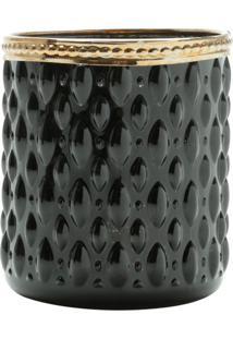 Cachepot De Vidro E Zamac Bristol Preto E Dourado 8X9Cm Lyor - Preto/Dourado - Dafiti