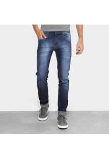 Calça Jeans Slim Aleatory Estonada Masculina - Masculino