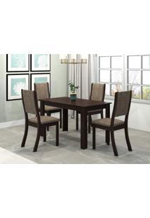Conjunto Sala De Jantar Mesa Violeta 4 Cadeiras Kiara Viero Choco/Canela
