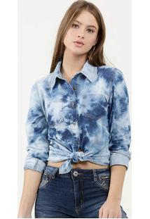 Camisa Feminina Jeans Tie Dye Manga Longa Marisa