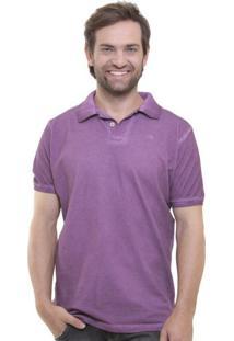 Camisa Polo Stone Wash Espatulada Roxo