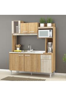 Cozinha Compacta Angel 6 Portas Sem Tampo Carvalho/Blanche - Fellicci