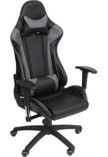 Cadeira Office Gamer- Preta & Cinza- 138X60X51Cmor Design