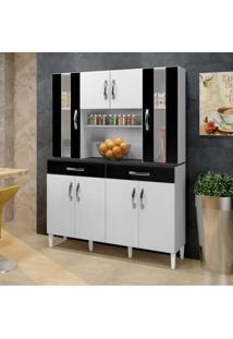 Armário De Cozinha 8 Portas 2 Gavetas Arte Móveis Branco/Preto