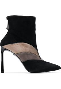 Just Cavalli Ankle Boot De Couro - Preto
