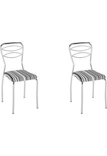 Kit 2 Cadeiras Pc11 Assento Listrado Preto - Pozza