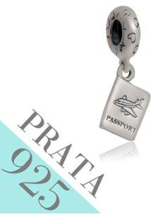 Pingente Prata 925 Passaporte Memories Kumbayá Joias - Feminino-Prata