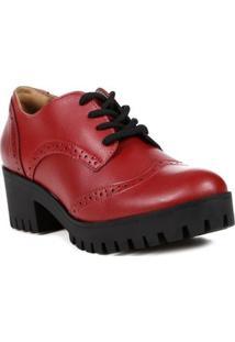 Sapato De Salto Oxford Feminino Via Marte Vermelho