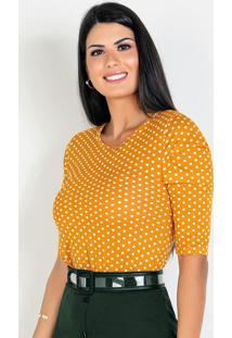 Blusa Com Pregas Poá Amarelo Moda Evangélica