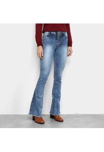 Calça Jeans Coffee Flare Estonada Feminina - Feminino-Azul