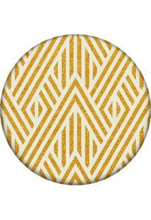 Tapete Love Decor Redondo Wevans Geométrico Amarelo 94Cm