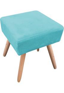 Puff Decorativo Ibiza Quadrado Suede Azul Tiffany D'Rossi