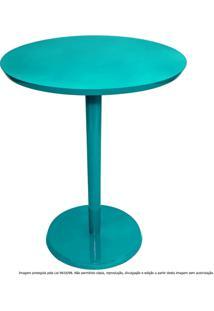 Mesa Lateral De Canto Decorativa Monopé Laqueada Azul Tiffany