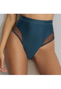 Calcinha Hot Pant Com Recorte - Incolor & Verde Escurohope