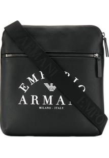 Emporio Armani Bolsa Tiracolo Com Estampa De Logo - Preto