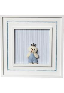 Quadro Príncipe Urso Mini Quarto Bebê Infantil Menino Potinho De Mel Azul