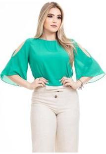 Blusa Clara Arruda Costa Laço Feminina - Feminino-Verde