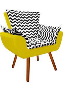 Poltrona Decorativa Opala Suede Compos㪠Estampado Zig Zag Preto D80 E Suede Amarelo - D'Rossi - Amarelo - Dafiti