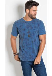 Camiseta Actual Azul Com Mangas Curtas