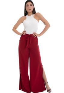 Calça Pantalona Pkd Com Fendas Vermelha