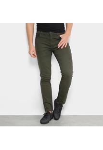 Calça De Sarja Skinny Ellus Soft Color Stoned Masculina - Masculino-Verde Militar