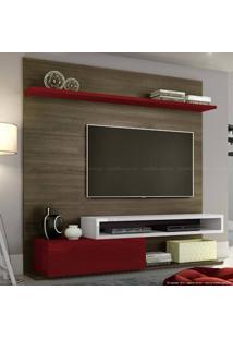 Estante Home Theater Para Tv Até 60 Polegadas 1 Porta Basculante Qn790 100% Mdf 182 X 180 X 40 Carvalho Francês/Bordô/Branco - Quiditá