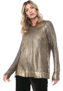 Suéter Dimy Tricot Metalizado Dourado