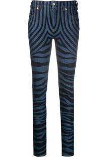Just Cavalli Calça Jeans Com Estampa De Zebra - Azul