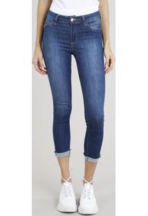 Calça Jeans Feminina Skinny Sawary Com Barra Dobrada Azul Escuro