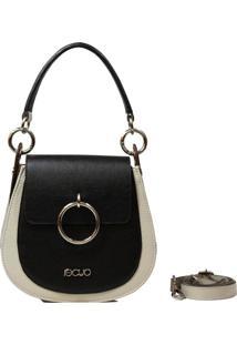 Bolsa Em Couro Recuo Fashion Bag Transversal Preto/Cacau/Ocre