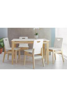 Mesa De Jantar Com 4 Cadeiras De Madeira Tucupi 120Cm - Acabamento Stain Natural E Branco