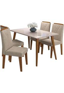 Conjunto De Mesa Adele Para Sala De Jantar Com 4 Cadeiras Nicole- Cimol - Madeira / Offwhite / Savana / S Bege