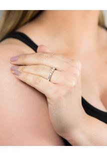 Meia Aliança De Ouro Branco 18K Com Diamantes-Coleção True