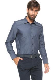 Camisa Aramis Slim Chambray Azul