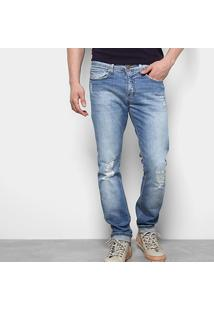 Calça Jeans Skinny Calvin Klein Super Rasgos Estonada Masculina - Masculino