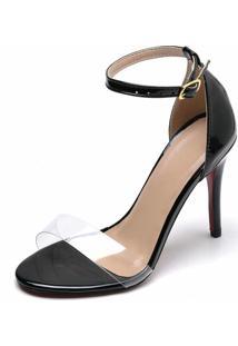 Sandália Salto Fino Transparente Bellatrix Preto