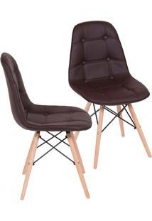 Jogo De Cadeiras Eames Botonê- Café & Bege Claro- 2Por Design