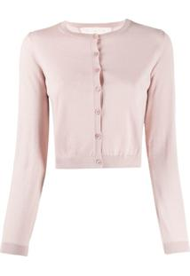 Red Valentino Cropped Ribbed Crewneck Cardigan - Rosa