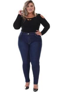 Calça Jeans Plus Size 264458 Sawary Feminina - Feminino-Azul